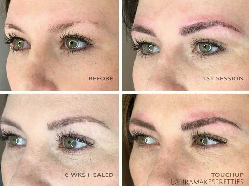 Before and After Microblading Memphis Brow Design